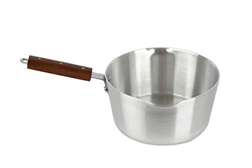 Olla de aluminio con doble caño para la leche, olla para cafetera, olla para curry – Sartén de gachas – Cacerola – resistente – mango largo de madera – ollas y sartenes (15 cm)