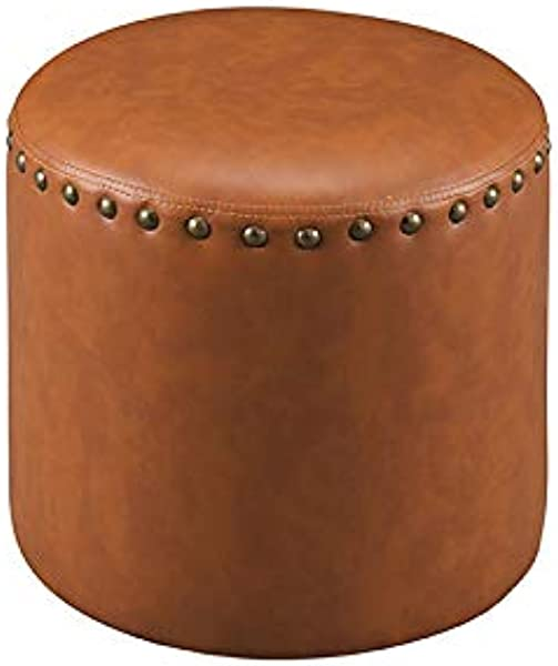K B Furniture 3217 BR Brown Faux Leather Round Ottoman