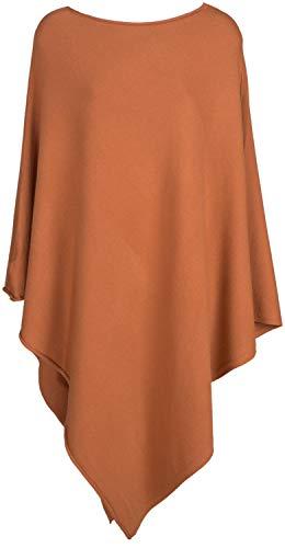 styleBREAKER Damen Leichter Feinstrick Poncho in Unifarben, leicht asymmetrischer Schnitt, Ärmellos, Rundhals 08010076, Farbe:Cognac