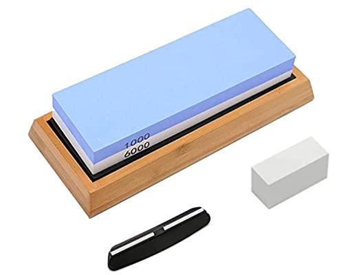 CLA JLT Whetstone Knife Sharpening Stone Set, Pebble Premium Water stone | 1000/6000 Grit Knife Sharpener Stone Non Slip Bamboo Base Angle Guide Flattening Stone | Gift Polishing Tool for Kitchen