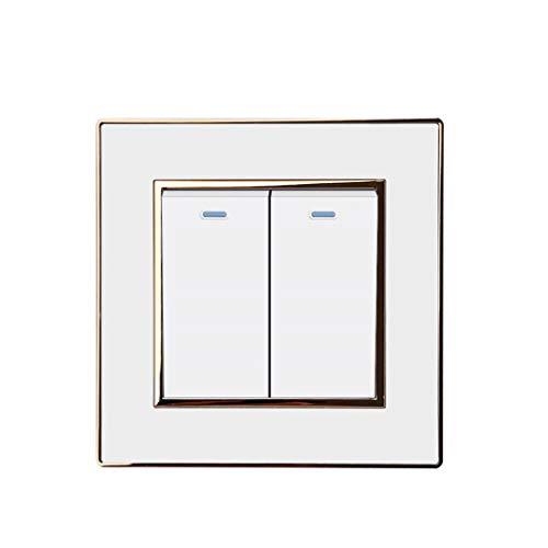 Panel acrílico de lujo con interruptor de luz de 2 bandas y 1 vía con interruptor de pared de espejo con botón pulsador de borde plateado 16A AC110-250V White Gold