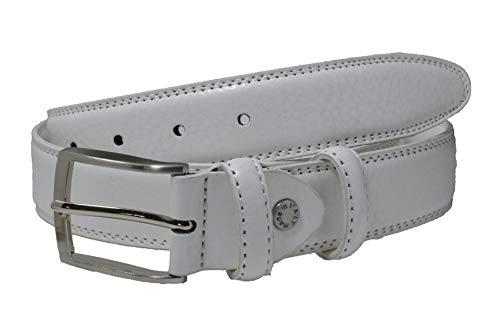 GreSel Cintura Uomo e Donna in Vera Pelle, Accorciabile, Altezza 3,5cm (125 (54-56), Bianco)