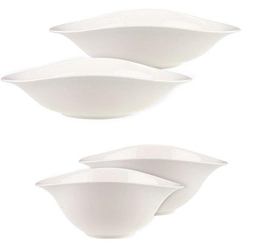 Villeroy & Boch 16-3293-8472 Dune 2 Pastaschalen/Geschirr, Porzellan, weiß, 28,8 x 28,8 x 9,8 cm, 2-Einheiten + 16-3293-8411 Dune 2 Salatschalen/Geschirr, Porzellan, 18,8 x 18,8 x 15,5 cm, 2-Einheiten