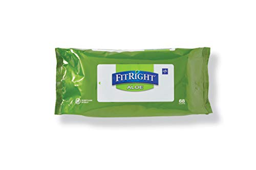 Medline - MSC263754 FitRight Aloe Personal Cleansing Cloth Wipes, Scented, 8 x 12 inch Adult Large Incontinence Wipes, 68 count, pack of 12