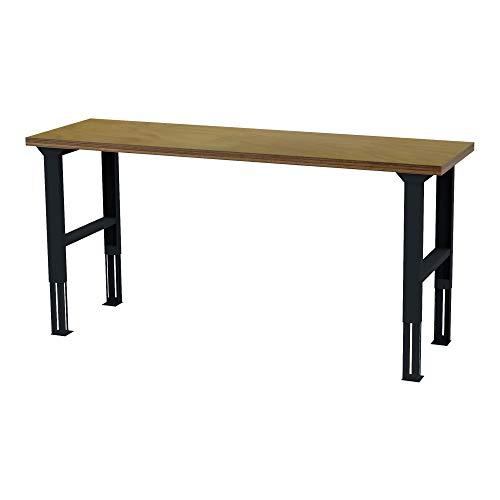 STIER höhenverstellbarer Werktisch, BxTxH 2000x600x760-1060 mm, Hergestellt in Deutschland, aus Stahl und Buche, umweltfreundlich Pulverbeschichtet