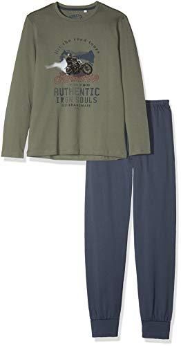 Sanetta Jungen Pyjama Long Zweiteiliger Schlafanzug, Grün (Castor Gray 4986.0), 128