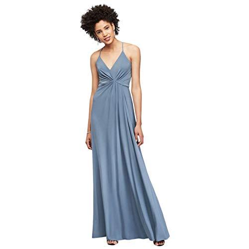 David's Bridal Drapey Jersey V-Neck Sheath with Gathered Waist Style DS270005, Slate Blue, 18