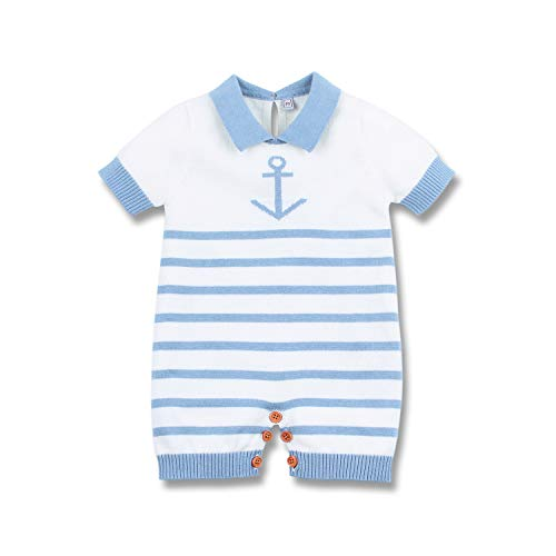 mimixiong Nautical Baby Boy Romper Toddler Navy Bodysuit Clothing(Blue,6-12Months)