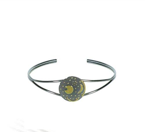 Himmelsscheibe von Nebra, Armreif Armspange 925/- Silber, Sternenschmuck, Scheibe 18mm