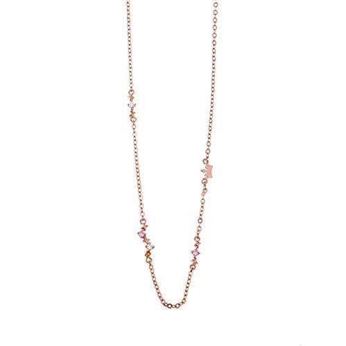 Gargantilla de plata dorada en oro rosa con piedras y motivos, de Salvatore Plata.