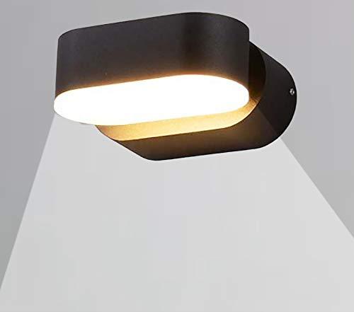 CGC Binnen of buiten Zwart Verstelbare LED Wandlamp IP65 Warm Wit 3000k Kleurtemperatuur Tuin Patio Veranda