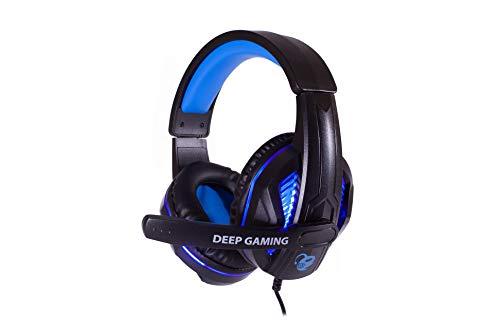 DeepGaming Gamer Kopfhörer Deepblue G3 (Kopfband, Mikrofon, LED-Beleuchtung, für PC und Konsolen) schwarz und blau