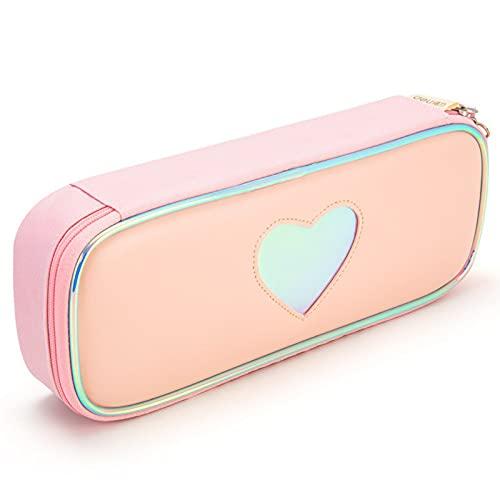 Estuche portátil resistente al agua y a las manchas, estuche de papelería bolsa de almacenamiento de tres capas para estudiante de papelería, color rosa