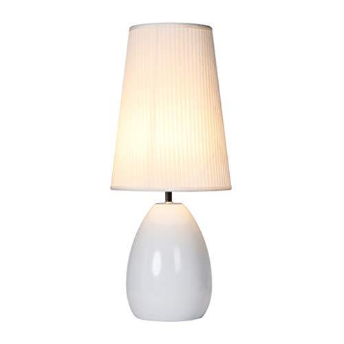 XILIN-1987 Lámparas de Escritorio Lámpara de Mesa de diseño Simple Regulable con luz led Lámpara de mesita de Noche de Sala de Estar Ovalada de cerámica - Blanco y Negro Lámpara de Mesa para niños