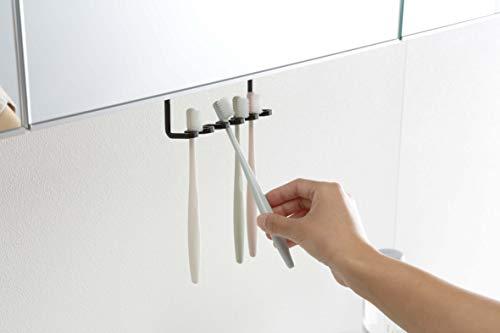 山崎実業(Yamazaki) 洗面戸棚下歯ブラシホルダー ブラック 約W14XD5XH10cm タワー 浮かせて収納 髭剃り収納 歯ブラシスタンド 5007