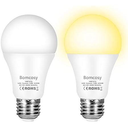 Bombilla con Sensor Crepuscular, Bomcosy Bombillas E27 LED Sensor, 9W Equivalente a 75W, Blanco Cálido 3000k, Amanecer hasta el Atardecer Encendido/Apagado Automático, Para Camino, Jardín 2 piezas