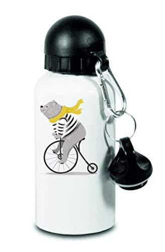 Drucklebnis24 Botella – Oso Circo Bicicleta Animal – para niños, escuela, deporte, fitness – Botella de agua fina de aluminio, color Blanco, tamaño 500 ml