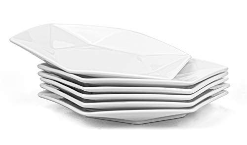 Yesland 10 Inch White Dinner Plates, Star-Geometric Serving Platter & Dinnerware Dish, Perfect for Dinner, Salad, Restaurant, Family Party and Kitchen Use(Set of 6))