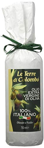Le Terre di Colombo – 100 % Italienisches Natives Olivenöl Extra, Flasche mit Weißer Papierhülle, 0,75 l