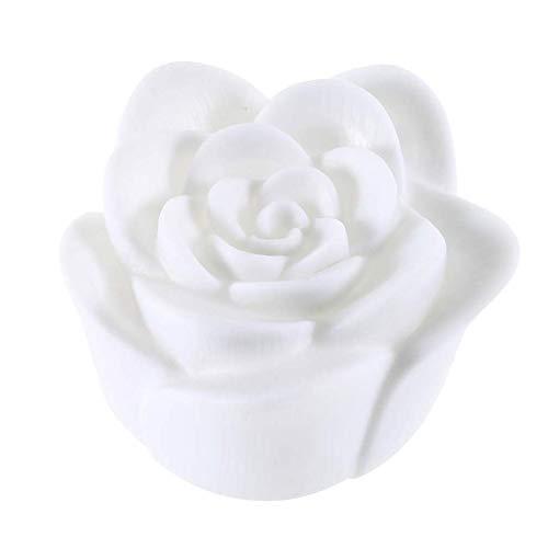 Belle conception changeante 7 couleurs rose fleur LED lumière nuit bougie lumière lampe romantique idéal pour la décoration de fête maison - blanc