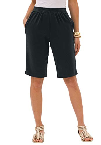Roamans Women's Plus Size Soft Knit Bermuda Short Pull On Elastic Waist - 1X, Black