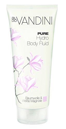 aldoVANDINI PURE Hydro Body Fluid für Frauen, Bodylotion Baumwolle & Weiße Magnolie - vegan & ohne Parabene, 1er Pack (1 x 200 ml)