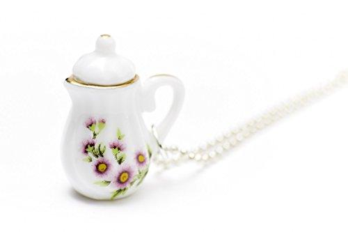 Miniblings Kaffeekanne Teekanne Kette Tee Kaffee 80cm Porzellan Goldrand schlank - Handmade Modeschmuck - Kugelkette versilbert