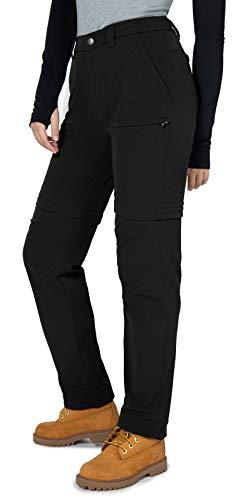 Vzteek, pantaloni da trekking da donna, con zip, per escursioni, lunghi, funzionali, comodi ed elasticizzati, per l estate e le attività all aria aperta, Nero , S