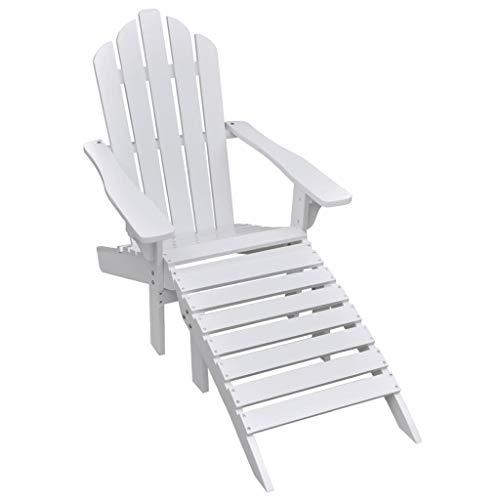 vidaXL Chaise de Jardin avec Pouf Bois Dur Blanc Salon Balcon Terrasse Patio