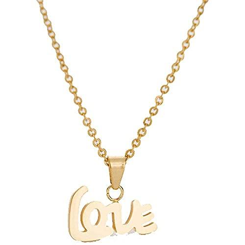 chaosong shop Moda 2016 nuevo estilo acero inoxidable 18K oro plateado amor letra eclsssl colgante para parejas