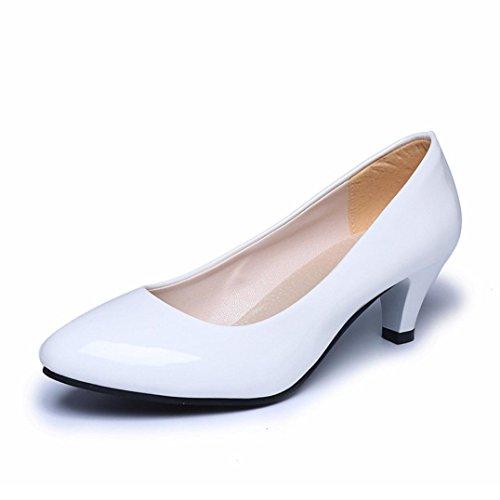 ¡Liquidación! Covermason Mujer Desnuda Oficina Tacones de trabajo Zapatos Elegantes Señoras Bajo talón(40 EU, Blanco)