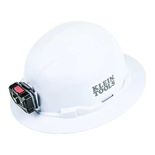 Klein Tools 60406RL Hard Hat with Rechargeable Headlamp, Non-vented, Full Brim Style, Padded Self-Wicking Odor-Resistant Sweatband, White