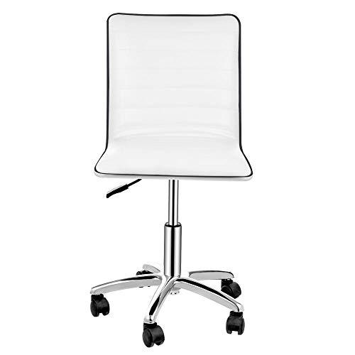 Ergonomischer Bürostuhl, drehbarer Computerstuhl, höhenverstellbarer PU-Stuhl mit niedriger Rückenlehne, Gaming Chairs Lehnstuhl für Erwachsene Weiß