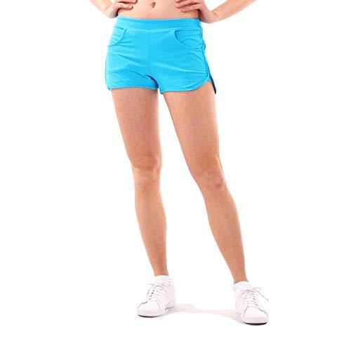 SPORTKIND - Pantalón Corto Deportivo para niña y Mujer, para Tenis, Voleibol, 2 en 1, con pantalón Interior, Todo el año, Color Türkis - Neu, tamaño XL (Gr. 42-44)