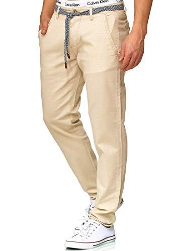 Indicode Herren Haverfield Stoffhose aus 55% Leinen & 45% Baumwolle m. 4 Taschen inkl. Gürtel | Lange sportliche Regular Fit Hose Baumwollhose Leinenhose Freizeithose f. Männer Fog L