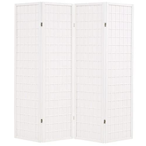 Paravento Pieghevole 4 Ante Stile Giapponese 160x170cm BiancoArredamento Separè