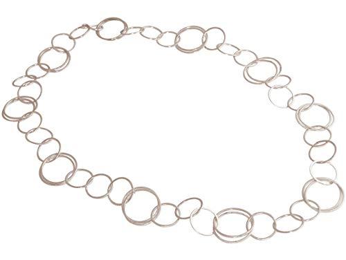 Gemshine 90 cm lange Damenhalskette in hochwertiger Mattverarbeitung in Silber. Längenverstellbare Kette. Made in Madrid/Spanien. Im eleganten Schmucketui mit Geschenkverpackung geliefert.