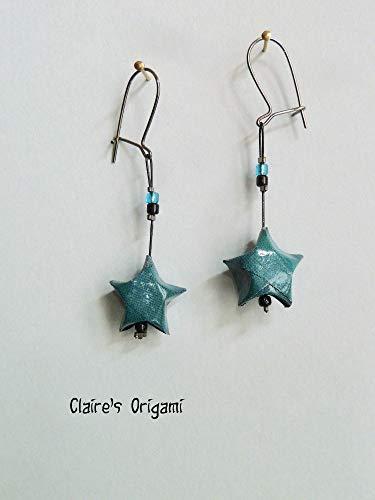 Türkisblau Stern Origami Ohrringe/im gefaltetem Papier/handgemacht Geschenk für Frauen