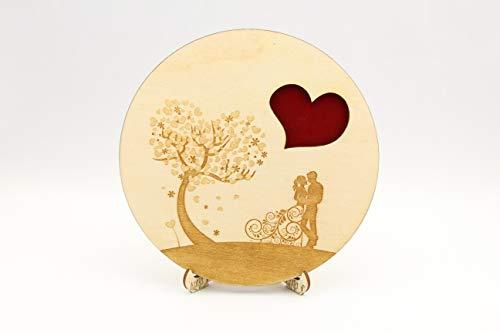 Ringkissen, Ständer für Eheringe, Hochzeit, Laser eingraviert, Jubiläum, Holz, Hochzeit, Ehepaar, Hochzeitsbaum, Baum der Liebe