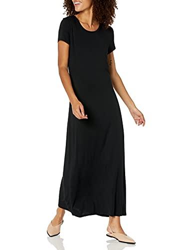 Amazon Essentials Women's Solid Short-Sleeve Maxi Dress, Black, M