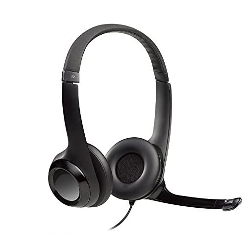 Logitech H390 Auriculares con Cable, Sonido Estéreo y Micrófono USB con Supresión de Ruido, Controles Integrados en el Cable, PC Mac Portátil Chromebook - Negro