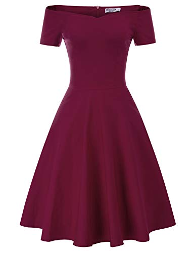 GRACE KARIN Women's Off Shoulder Evening Wedding Dress Knee Length Size M Wine Red CL020-4