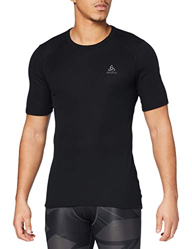 Odlo Herren Shirt Short Sleeve Crew Neck Warm Unterhemd, Black, XXL