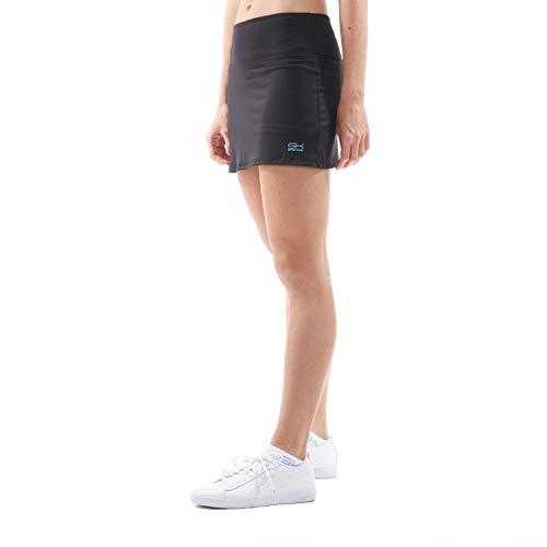Sportkind Mädchen & Damen Tennis, Hockey, Golf Basic Skort, Rock mit Innenhose, atmungsaktiv, UV-Schutz, schwarz, Gr. 158