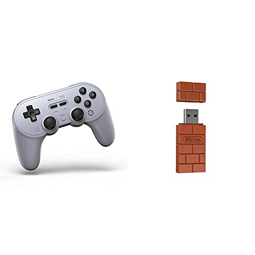 8Bitdo Pro 2 Bluetooth Controller for Switch, PC, macOS, Android, Steam & Raspberry Pi (Gray Edition) & Wireless Bluetooth Adapter for Windows/Mac/Raspberry Pi/Switch
