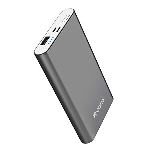Portable Charger Yoobao Power Bank Apple & Micro Input 8000mAh Compact Powerbank External Cellphone Battery Backup Pack Compatible iPhone X 8 7 6 Plus Android Smartphone Samsung Galaxy etc- Gray