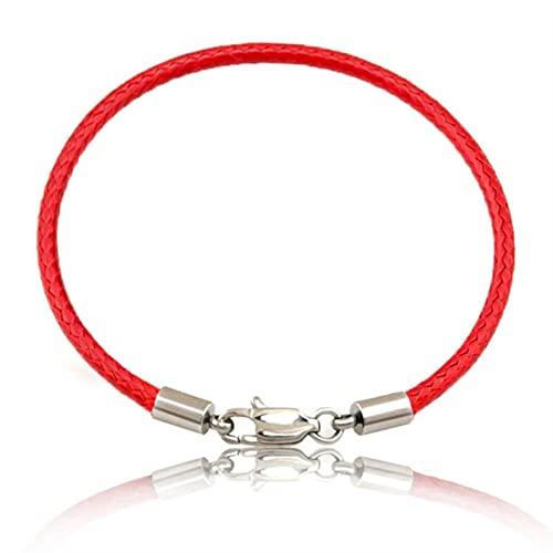 CXWK Moda clásica Cuerda roja Cuero Negro Pulsera Hilo Rojo línea joyería Pulsera de Hilo Rojo para Mujeres Hombres Pulseras de Langosta