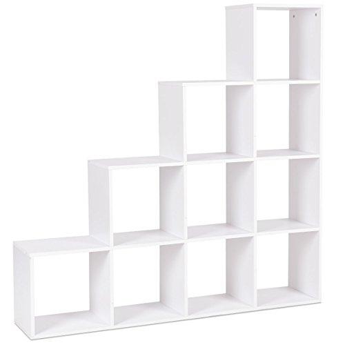GOPLUS Treppenregal, Bücherregal, Stufenregal, Raumteiler, Standregal, Aktenregal aus Holz, 10 Fächer weiß, 131,5x131,5x27,5cm