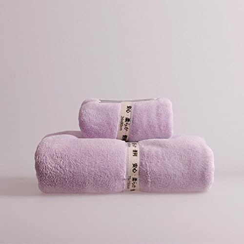 MQQM 3 Piezas Toalla Juego,Coral Juego de Toallas de Terciopelo, de Secado rápido Toalla de baño Suave-Luz púrpura 2_1 Toalla + 1 Toalla de baño,Toalla de Secado rápido multipropósito