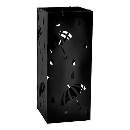 Lestarain Schirmständer Metall Regenschirmständer Schirmhalter mit Wasserauffangschale und Haken Quader Schwarz Ø20 x H49 cm